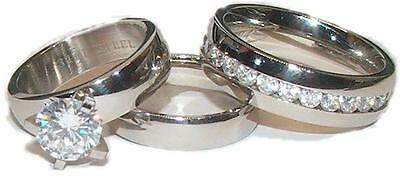 His and Hers Wedding Rings Cz Ring Set 3 Piece Stainless Steel Wedding Rings