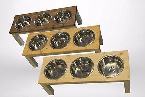Image Is Loading Large Raised Triple Dog Bowl Stand Feeder
