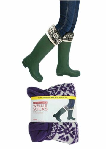 Ladies Undercover Fleece Wellington Boot Liner Wellie Socks Faux Fairisle 3-8
