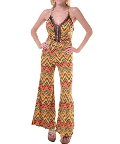 Woman jumpsuit Wide Leg tube Backless chevron zig zag Palazzo Pant Outfit S M L