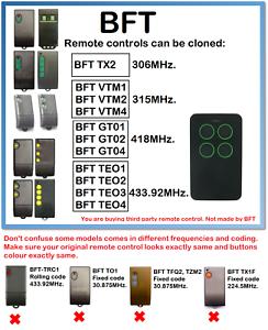 BFT TX- VTM- GT- TEO Remote Control Duplicator 306 MHz. 315 MHz. 418 MHz. 433.92 MHz-afficher le titre d`origine aSyfVcHF-07134820-325235107
