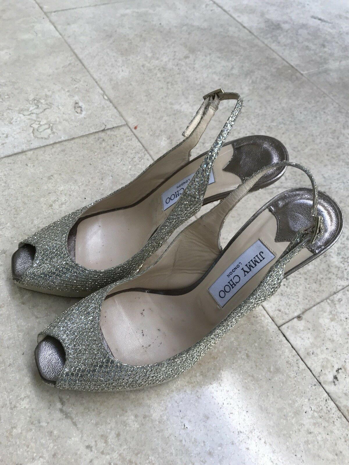 Jimmy Choo oro Sparkle scarpe da  tallone 39.5 39 1  2 Bling Open 8.5 autentico  consegna diretta e rapida in fabbrica