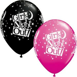 Girls-Night-Out-Stars-Wild-Berry-Pink-amp-Black-Qualatex-11-034-Latex-Balloons-x-5