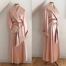 Vintage Art Deco 1930s Robe Dressing Gown Pink Silk Exquisite 30s French Pinup
