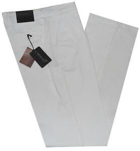 Pantalone-uomo-taglia-46-48-50-52-54-56-58-60-cotone-elasticizzato-bianco-RAY