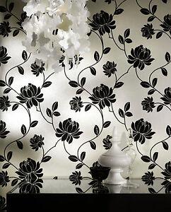 Arthouse vintage georgia velvet flock black cream floral wallpaper 680801 ebay - Cream flock wallpaper ...