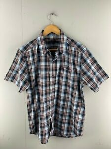 Gallop-Mens-Blue-Red-Check-Short-Sleeve-Pockets-Button-Up-Shirt-Size-Large