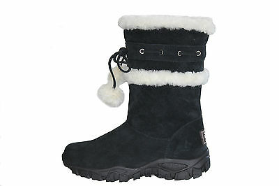 Genuine Sheepskin Lady Fashion UGG Boots Front With Pom-Pom Black Colour