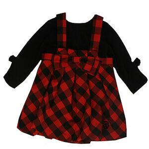 45273813 Details about Deux Par Deux Red and Black Check Baby Girl Jumper Dress &  Top 2 Piece Set NWT