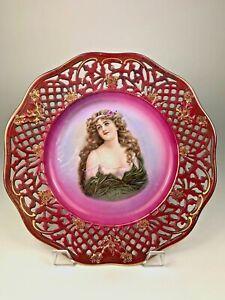 Vintage-CICO-German-Bavaria-Lattice-Reticulated-Portrait-Plate-Gold-amp-Burgundy