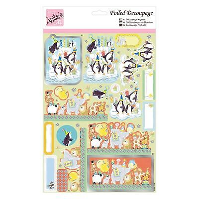 ANITAS FOILED DECOUPAGE POSTAL RABBIT TOPPERS FOR CARDS /& CRAFTS