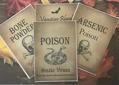 4 x Halloween Wine Soda Bottle Labels Party Kraft Snake Bats Poison Stickers Y09