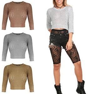 New-Womens-Ladies-Cable-Knitted-Ribbed-Plain-Metallic-Lurex-Bralet-Cropped-Top