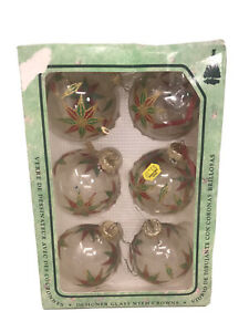 VTG-Krebs-6-CLEAR-Colorful-STARS-Blown-Glass-Christmas-Ornaments-3-Balls