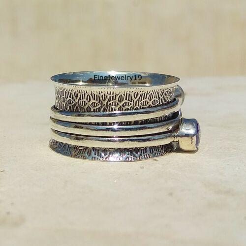 H97 Amethyst Ring Moonstone Ring 925 Sterling Silver Spinner Meditation Ring
