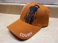 Mens Orange Rust Cowboy Black Embroidered Baseball Ball Cap Hat Adjustable