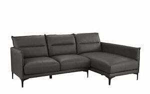 Details About Mid Century Leather Match Sectional Sofa L Shape Couch With Metal Legs Grey