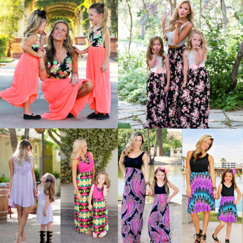 Mommy and Me Family Matching Dress Mother Daughter Floral Sundress for Kid Women