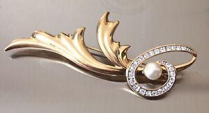 Vintage-risis-chapado-en-oro-cristal-y-perlas-de-imitacion-Broche