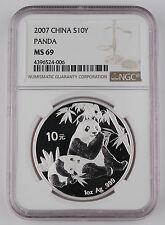 China 2007 1 Oz 999 Silver Panda 10 Yuan Coin NGC MS69 GEM BU+