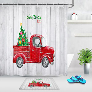 Christmas Ball Rustic Red Truck Wooden Boards Shower Curtain Set Bathroom Decor