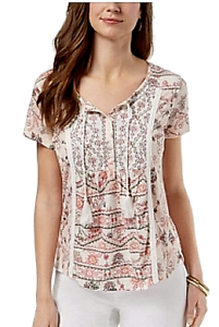 Style-amp-co-New-S-Petite-Boho-Floral-Mixed-Print-Short-Sleeve-Peasant-Top-49-NWT