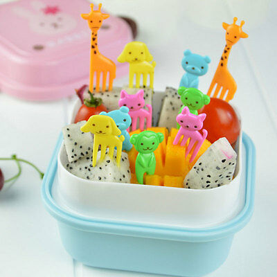 10 pcs/pack Bento Kawaii Animal Food Fruit Picks Forks Lunch Box Case Accessory