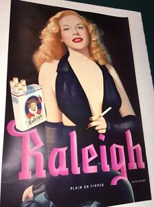 Original-Raleigh-Cigarette-Poster-Sign-1940s-Mint-Old-Guaranteed-Pin-Up-Girl