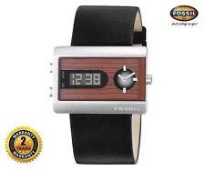 FOSSIL JR9449 Women Men Rectangle Digital Analog Watch Black Leather Wood Dial