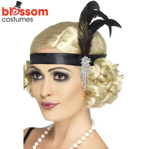 AC42-Black-Charleston-Headband-Gatsby-Headpiece-Flapper-1920s-Costume-Feather