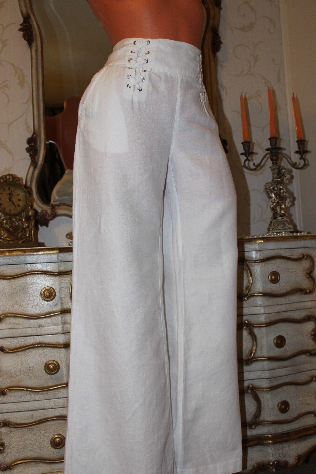 (Ref 1) BETTY JACKSON.schwarz Weiß Linen & Cotton Mix Summer Trousers Größe 12