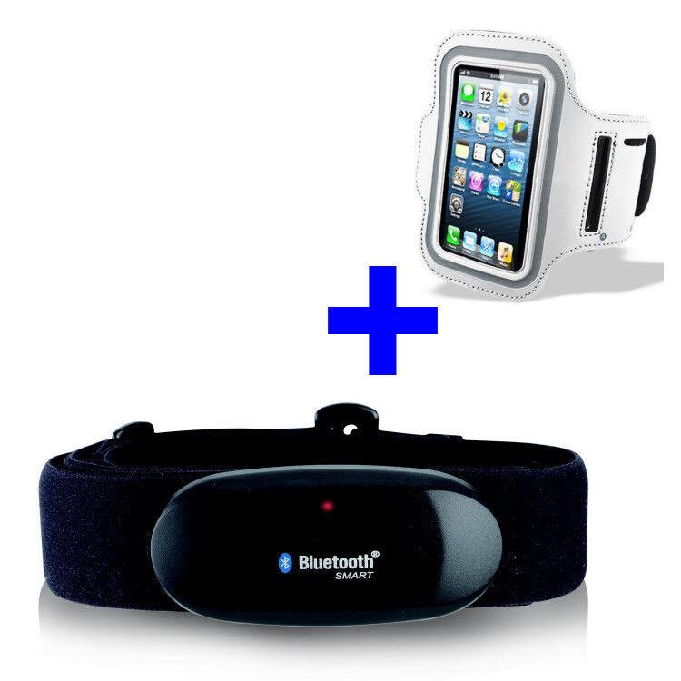 blueETOOTH BRUSTGURT für WAHOO bluee HR App+ARMBANDTASCHE weiß iPhone 5 6 SE 7 8 X