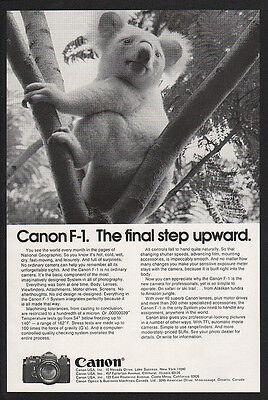 1974 CANON F-1 Camera Cute KOALA BEAR VINTAGE ADVERTISEMENT