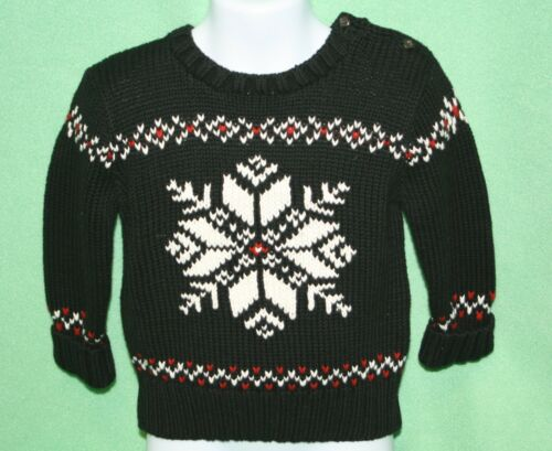 Polo Ralph Lauren Sweater Boys Black White Red snowflake Ski Retail 85 12M 18M