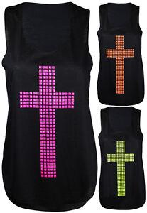 New-Womens-Neon-Cross-Studded-Racer-Sleeveless-Ladies-Stretch-T-Shirt-Vest-Top
