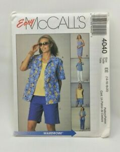 McCall-039-s-Easy-Sewing-Pattern-4040-Misses-Petite-Shirt-Top-Dress-Pants-Siz-14-20