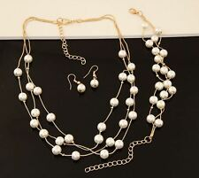 GOLD TONE 3 STRAND FLOATING CREAM  FAUX PEARL NECKLACE  EARRINGS BRACELET SET