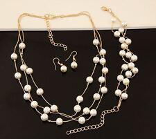 Tono Oro 3 Strand flotante Crema Perlas Collar Aretes Pulsera Conjunto de Imitación