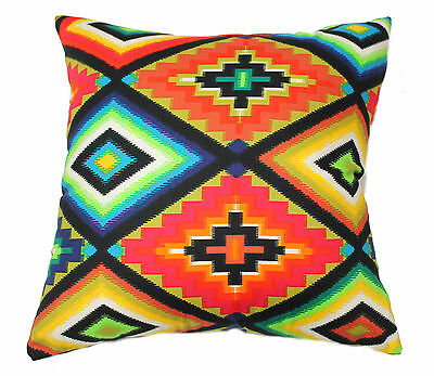 OJO DE DIOS GOD'S EYE AGLOW MEXICAN CUSHION COVER BED SOFA THROW PILLOW A. HENRY