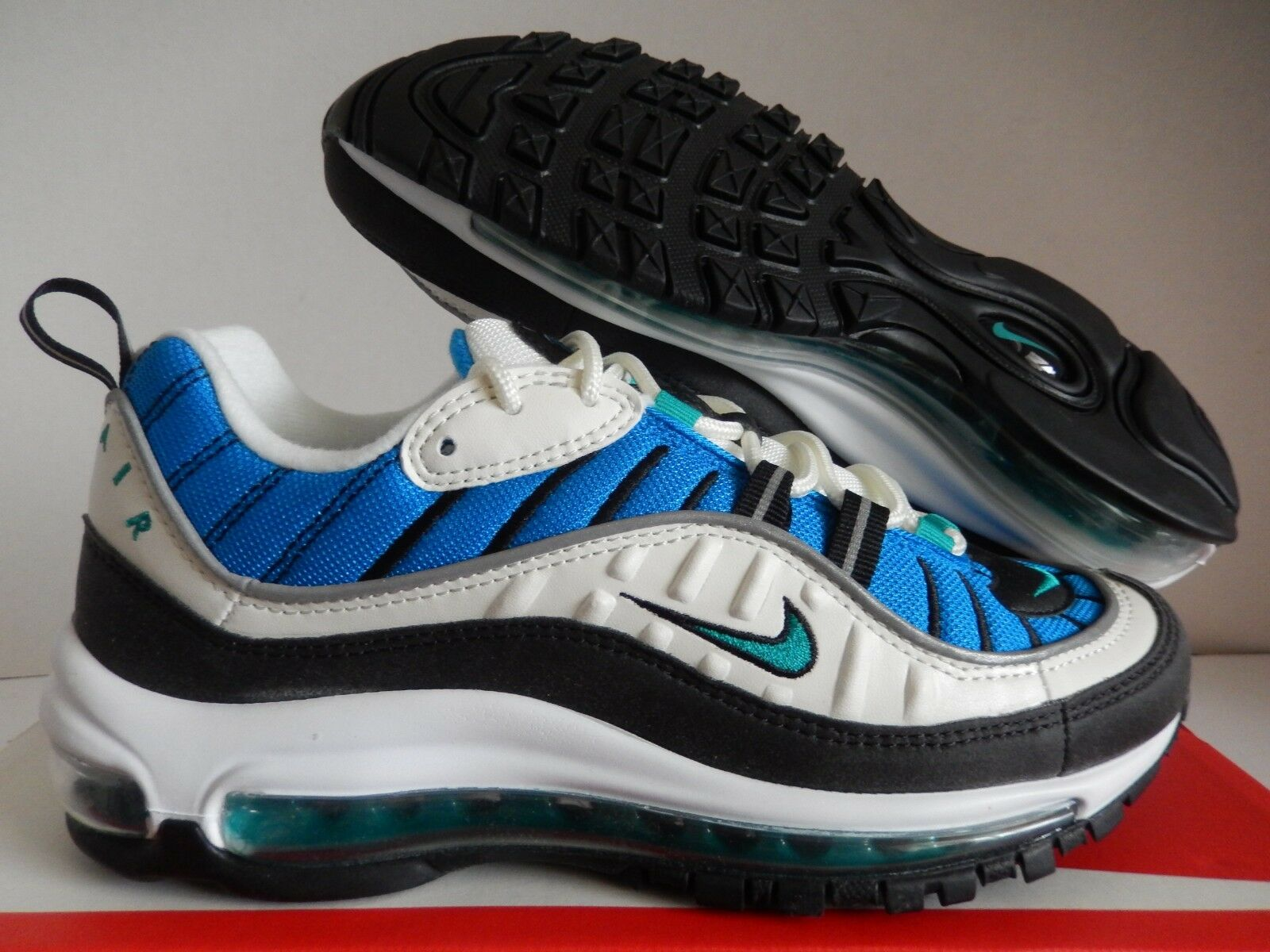 WMNS NIKE AIR MAX 98 SAIL-RADIANT EMERALD BLUE SZ 8 [AH6799-106]
