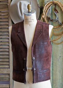 Handmade-All-Leather-Supple-Lamb-Skin-JOHN-WAYNE-VEST-IN-ROUGH-RIDER-SM-MED-LG