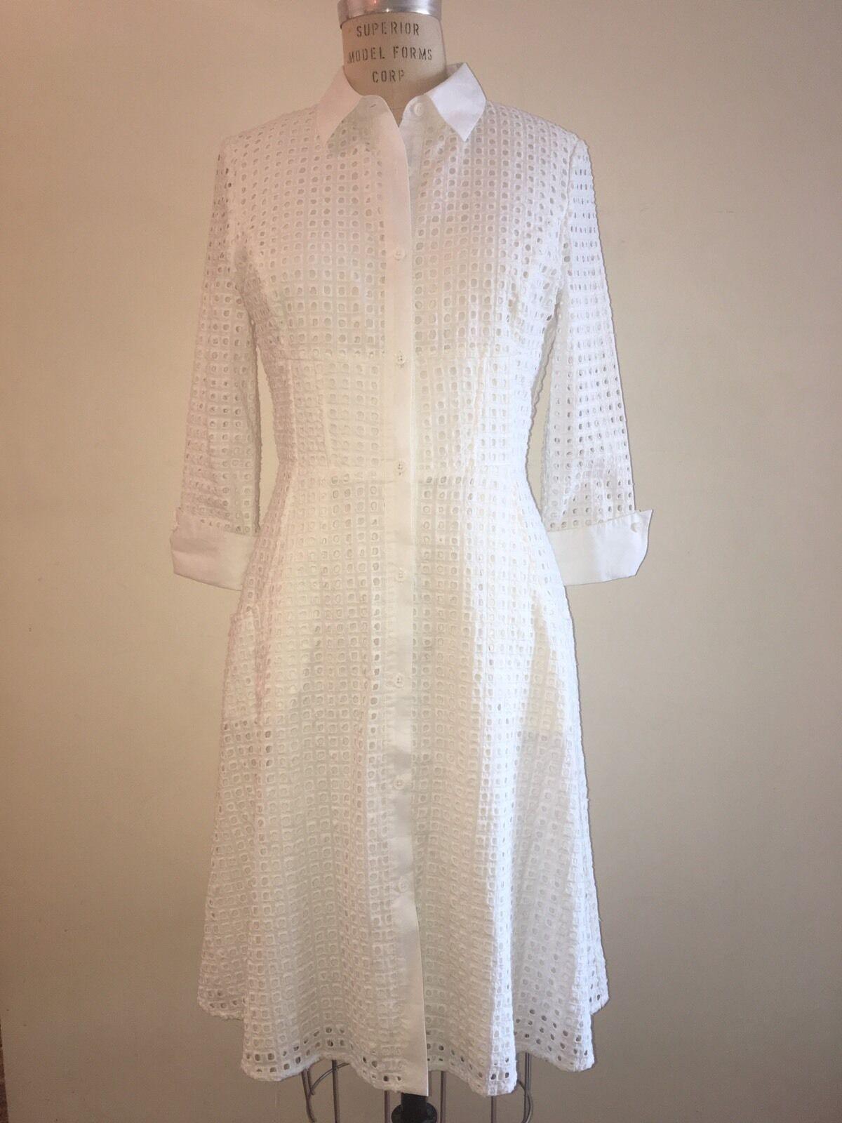 NUE By Shani Weiß Cotton Shirt Dress Größe 4