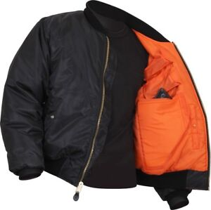 Black Concealed Carry Air Force MA-1 Reversible Bomber Coat Flight ... 78a3bcf4c3c