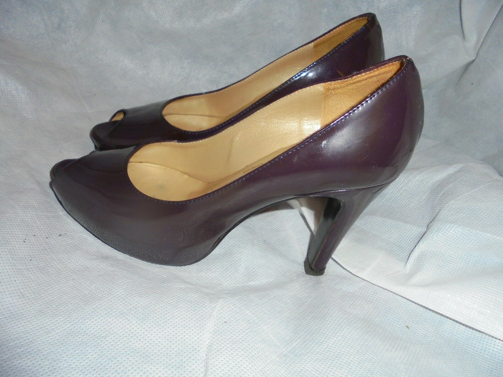 RUSSELL & BROMLEY Damenss MAROON LEATHER SLIP ON PEEP TOE SHOE SIZE UK 3 EU 35.5