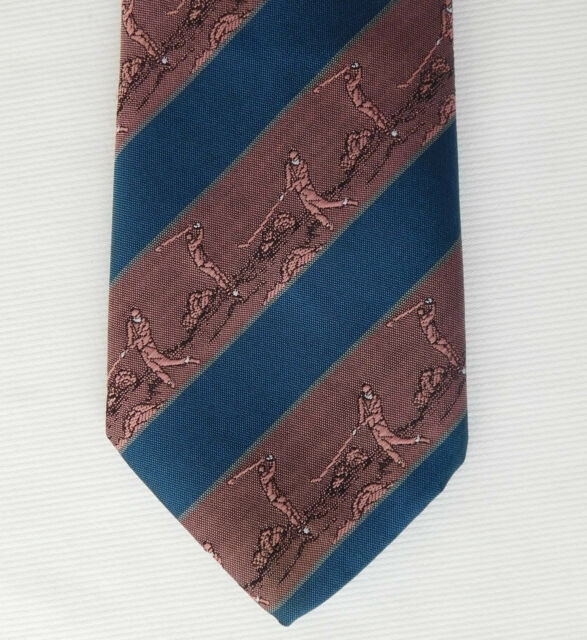 Striped golf tie by Jacques Estier pink and blue Golfer washable sports mens