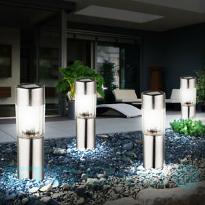 4-Led-Set-Ausenspots-Silver-Solar-Plug-In-Lamps-Stainless-Steel-Garden-Lighting