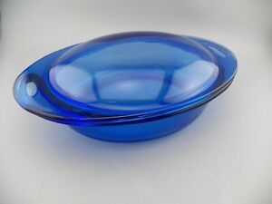 Oval-Blue-Heavy-Casserole-2-Qt-Anchor-Hocking-Heavy-Baking-Dish-with-Lid-EUC