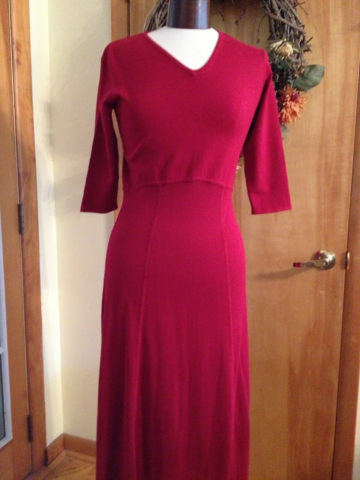 Norm Thompson Women's Dress Petite Knit Red Long 3 4 Sleeve Size P Small