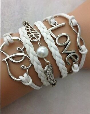 NEW Infinity Love Heart Wing Pearl Leather Charm Bracelet plated Silver DIY
