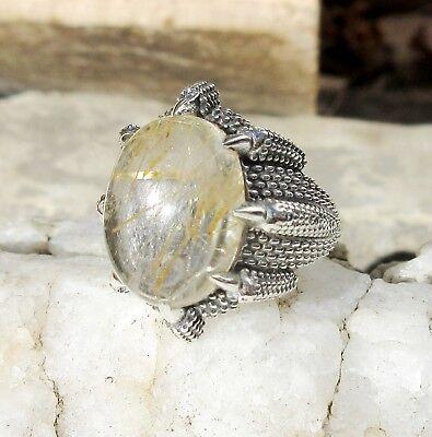 Ring Drache Klaue Kralle hält Labradorit Stein d Löwe Sterling Silber 925